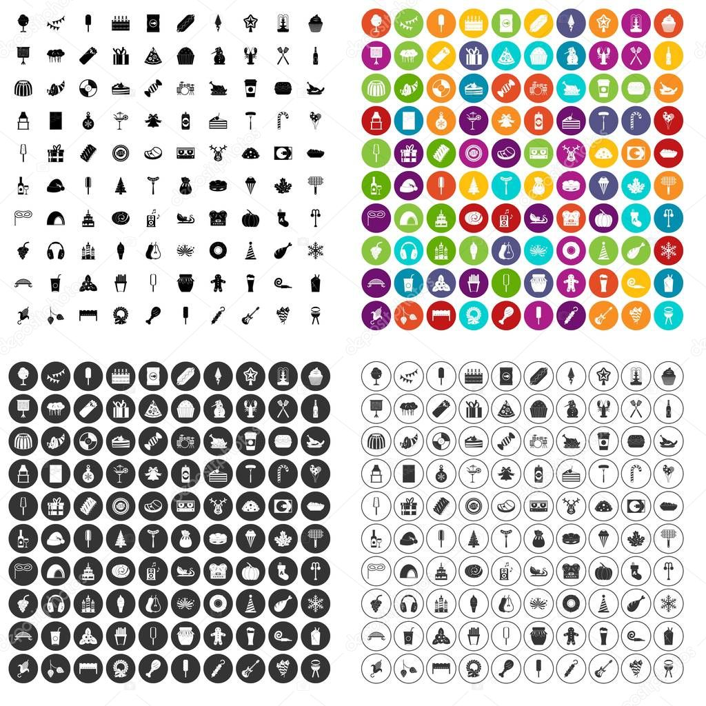 100 party icons set vector variant