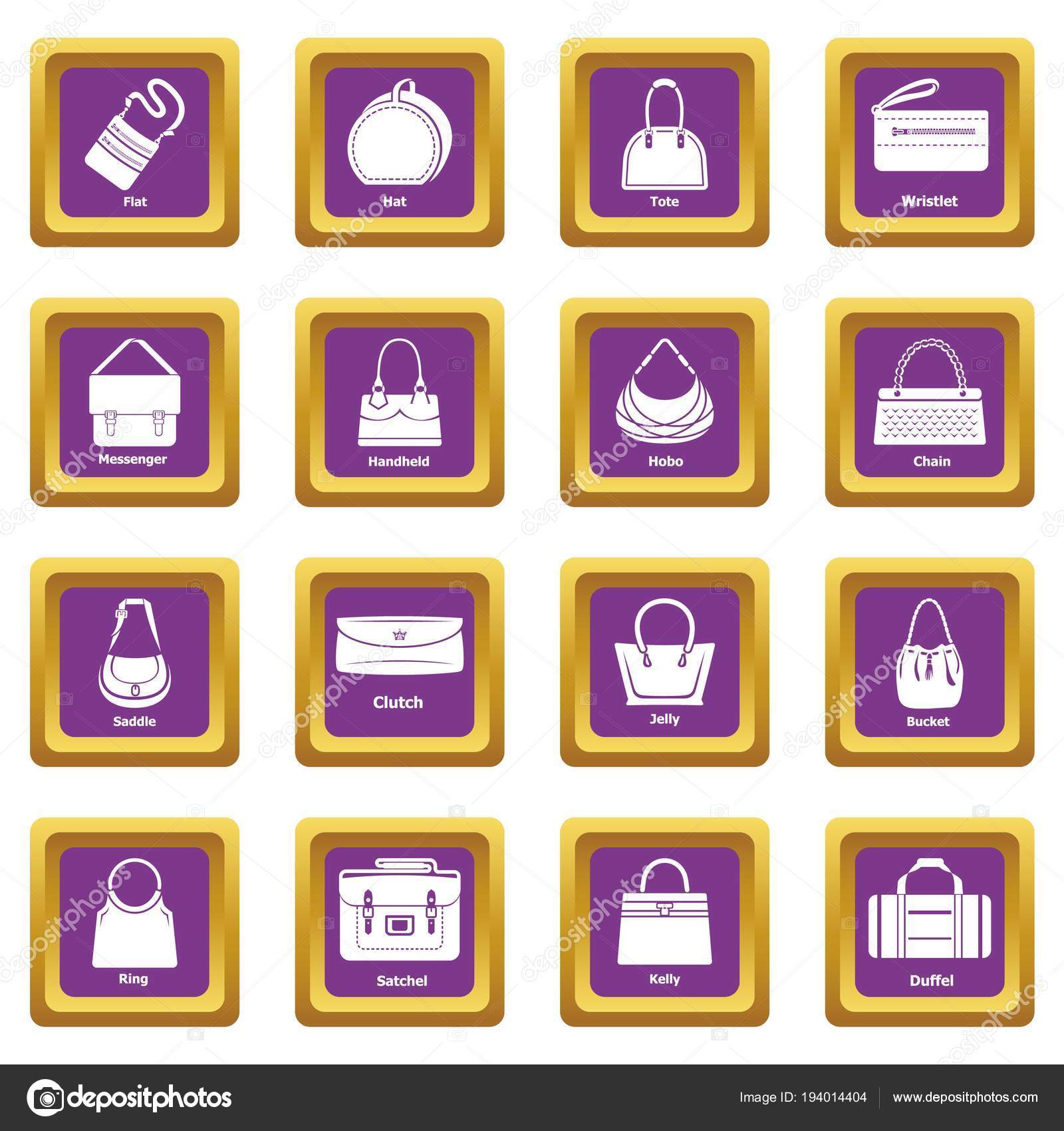 f2d93b990a Woman bag types icons set vector purple square isolated on white background  — Vector by ylivdesign