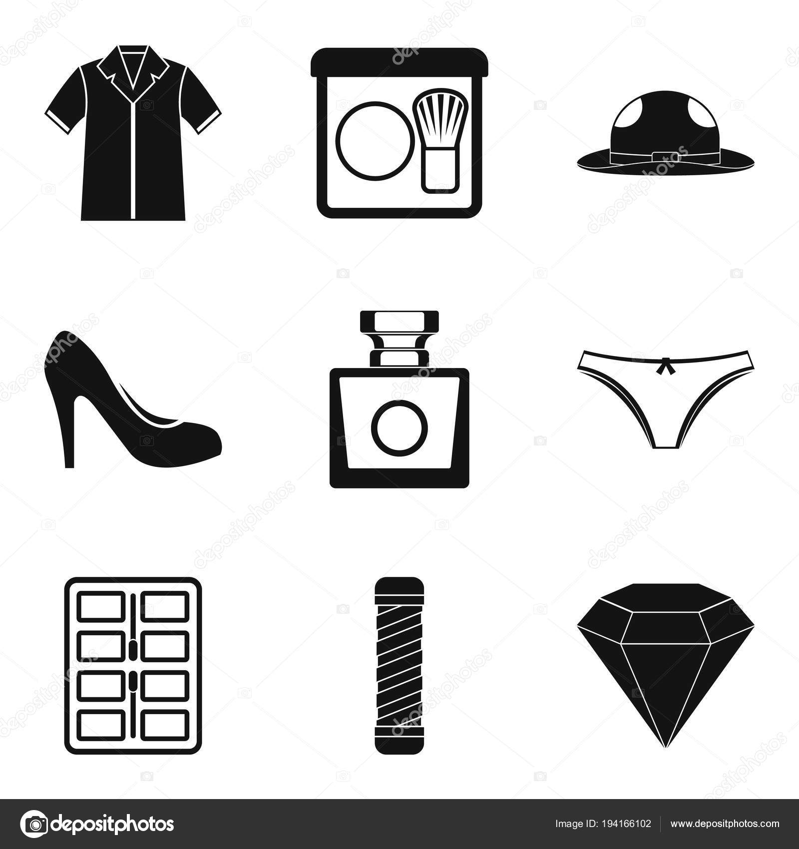 9dd1d96a212 Oblečení doplňky ikony nastavit