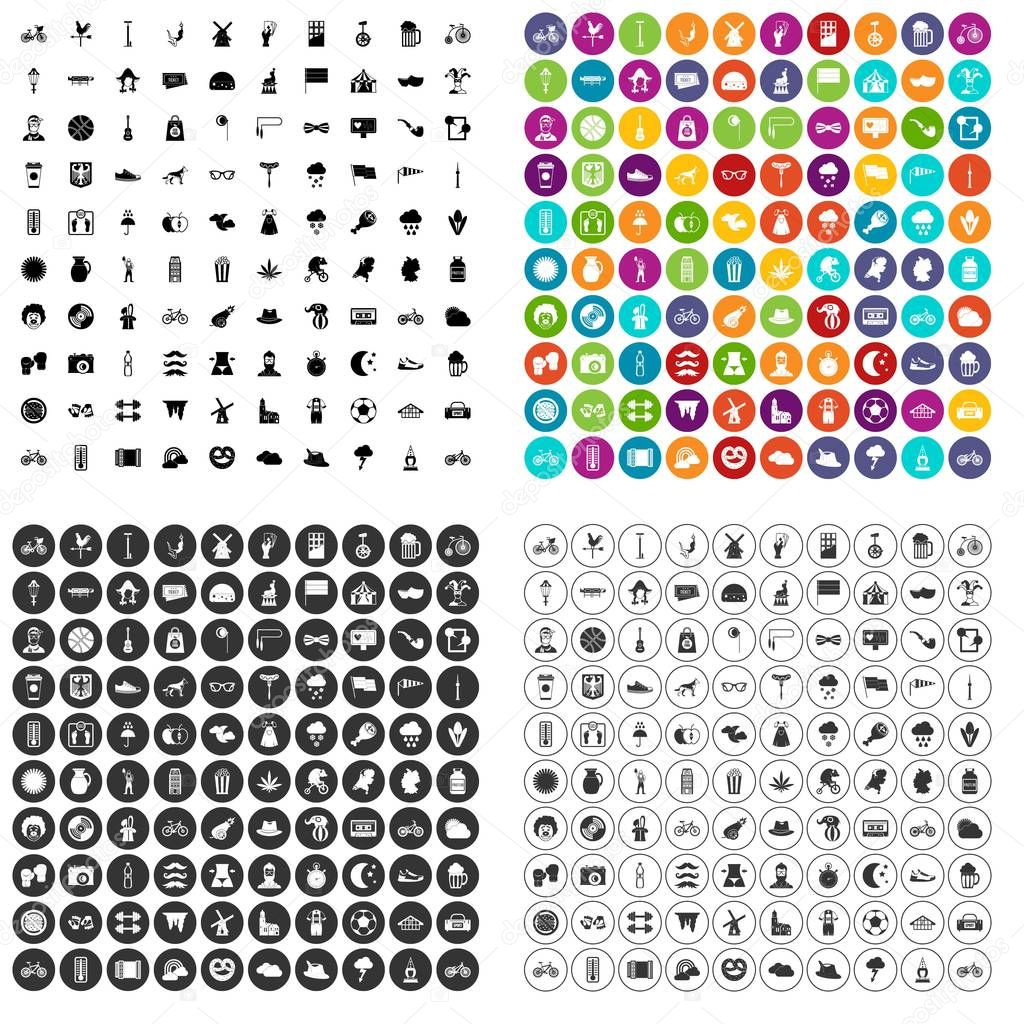 100 bicycle icons set vector variant