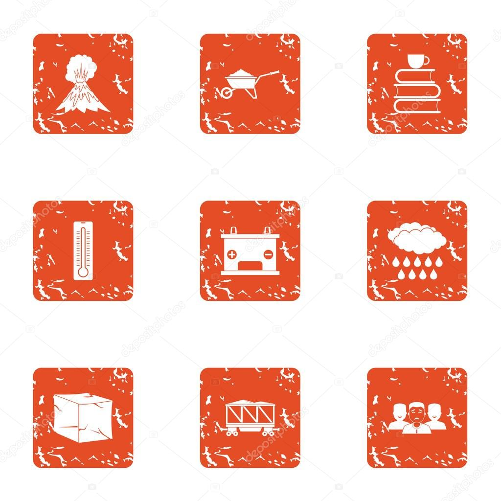 Air place icons set, grunge style