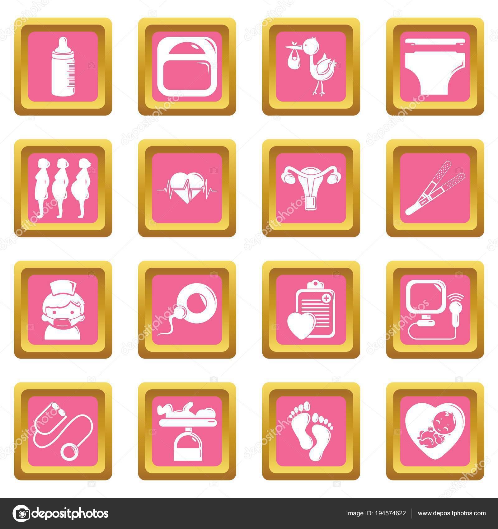 f79f79651 Los iconos de embarazo establecer vector cuadrado rosa — Archivo Imágenes  Vectoriales