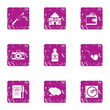 Household chores icons set, grunge style