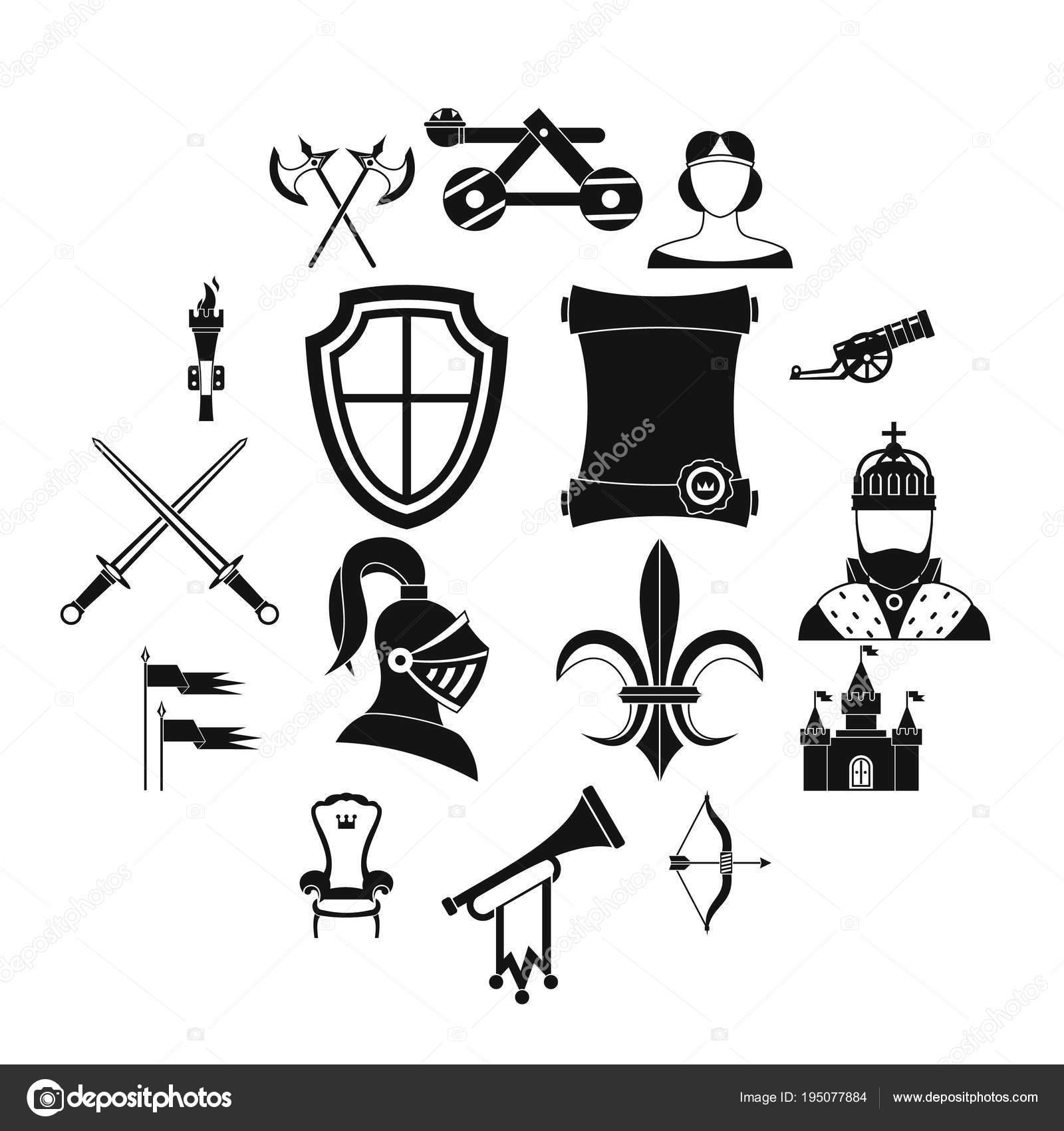 Ritter Mittelalterliche Symbole Gesetzt Einfachen Stil