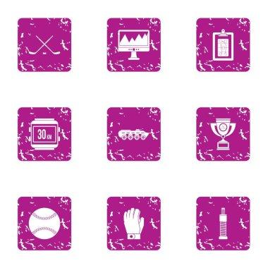 Gambol icons set, grunge style