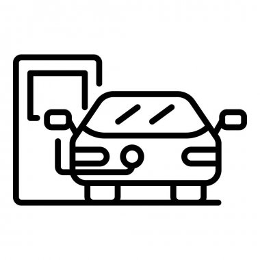 Electric car on charge icon, outline style