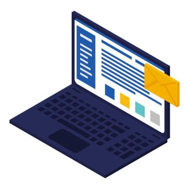 Business laptop icon, isometric style