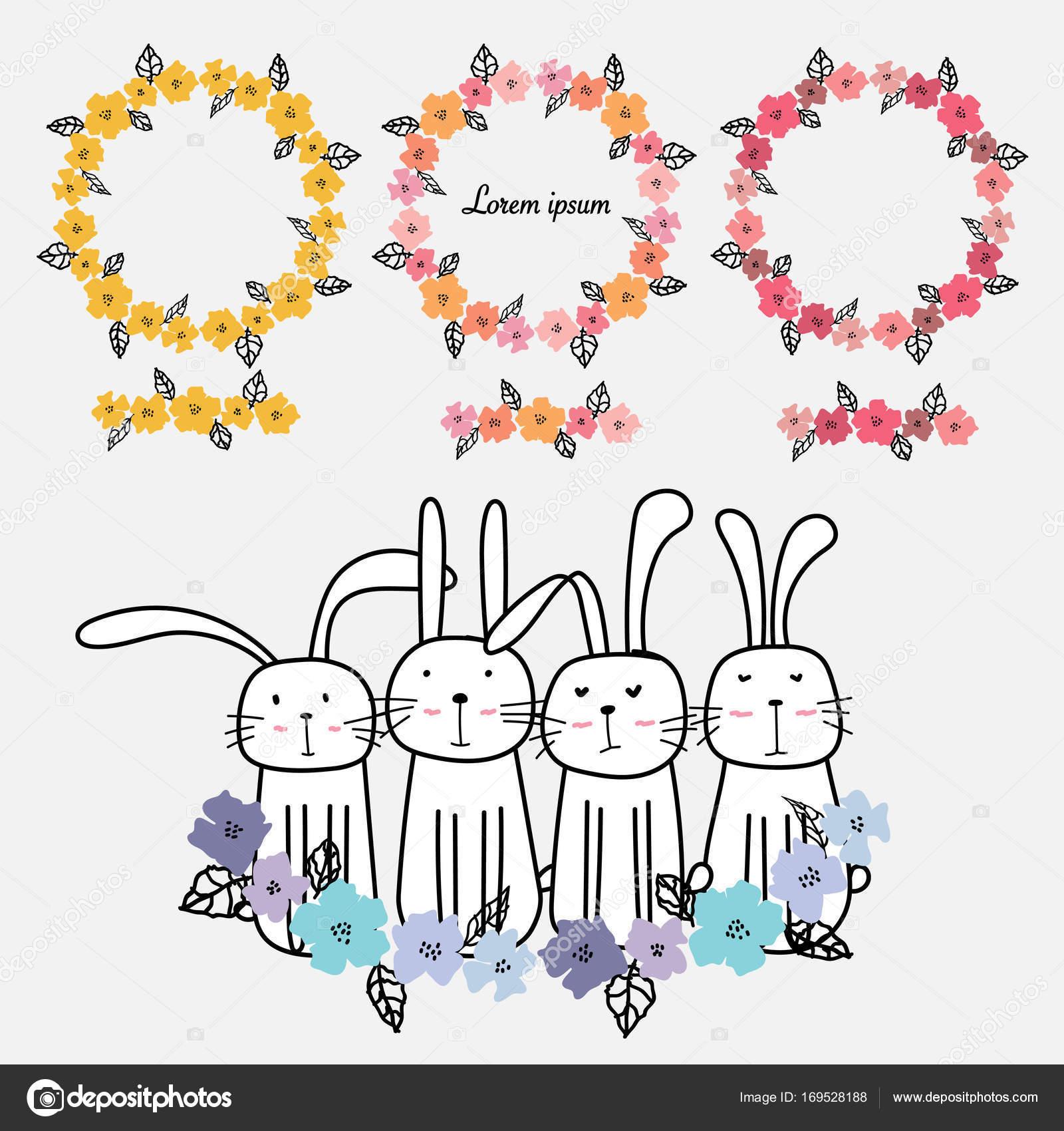 Sistema de mano alzada flores Marcos tarjeta decoración y lindo ...