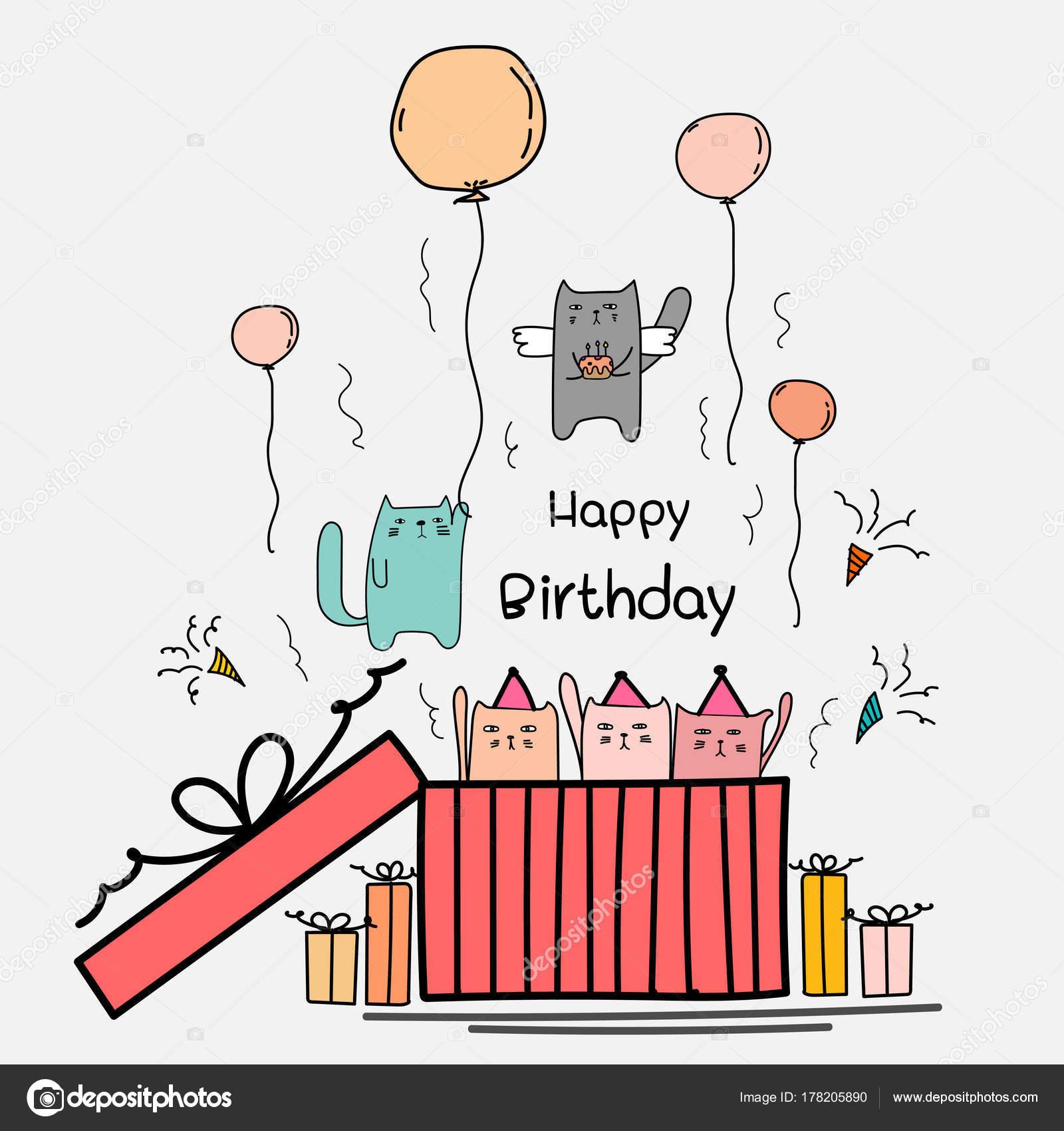 Happy Birthday Card Mit Niedlichen Katze Das Grosse Geschenk Box Stockvektor