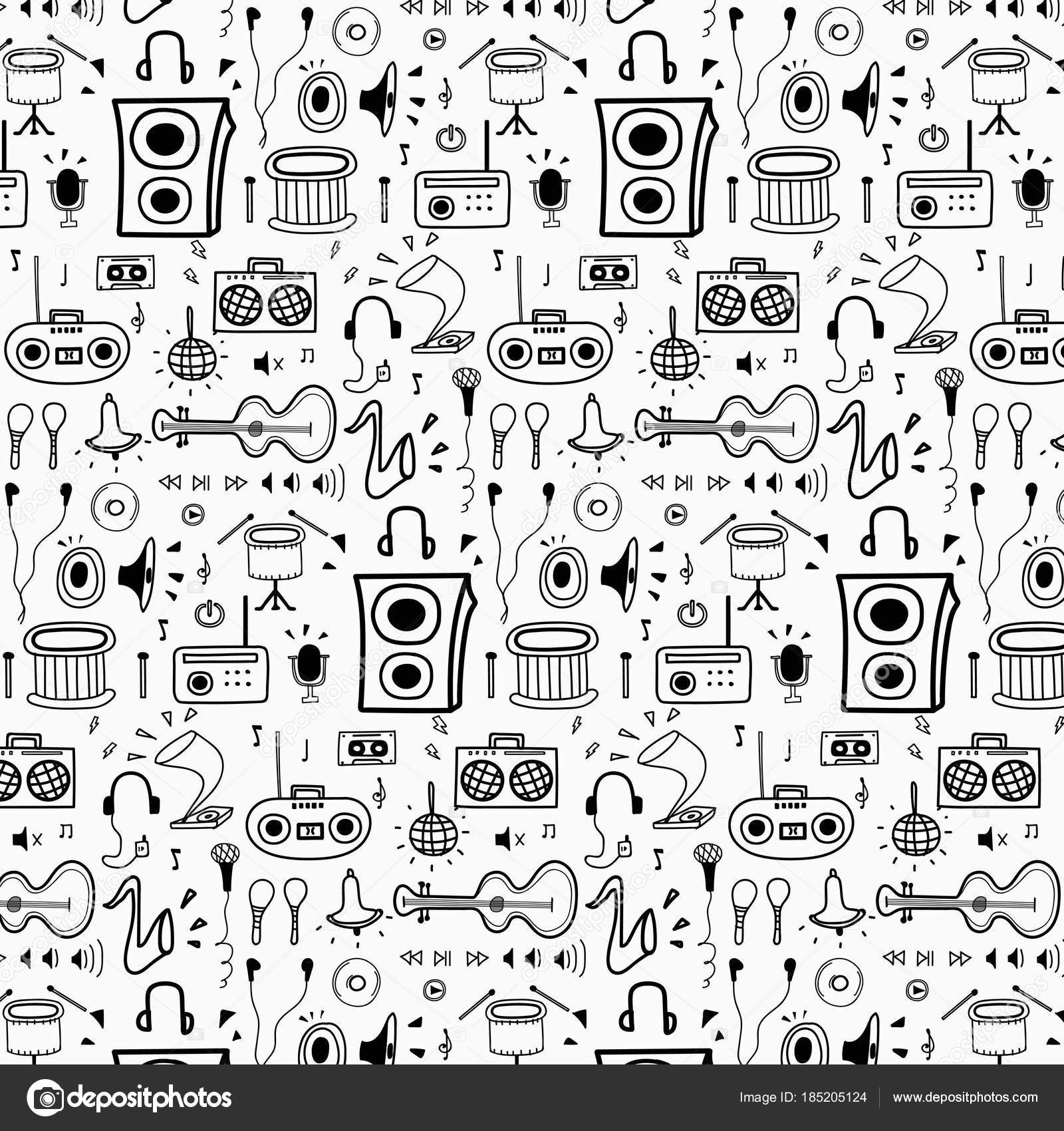 Pattern Line Hand Drawn Doodle Music Background Doodle Funny