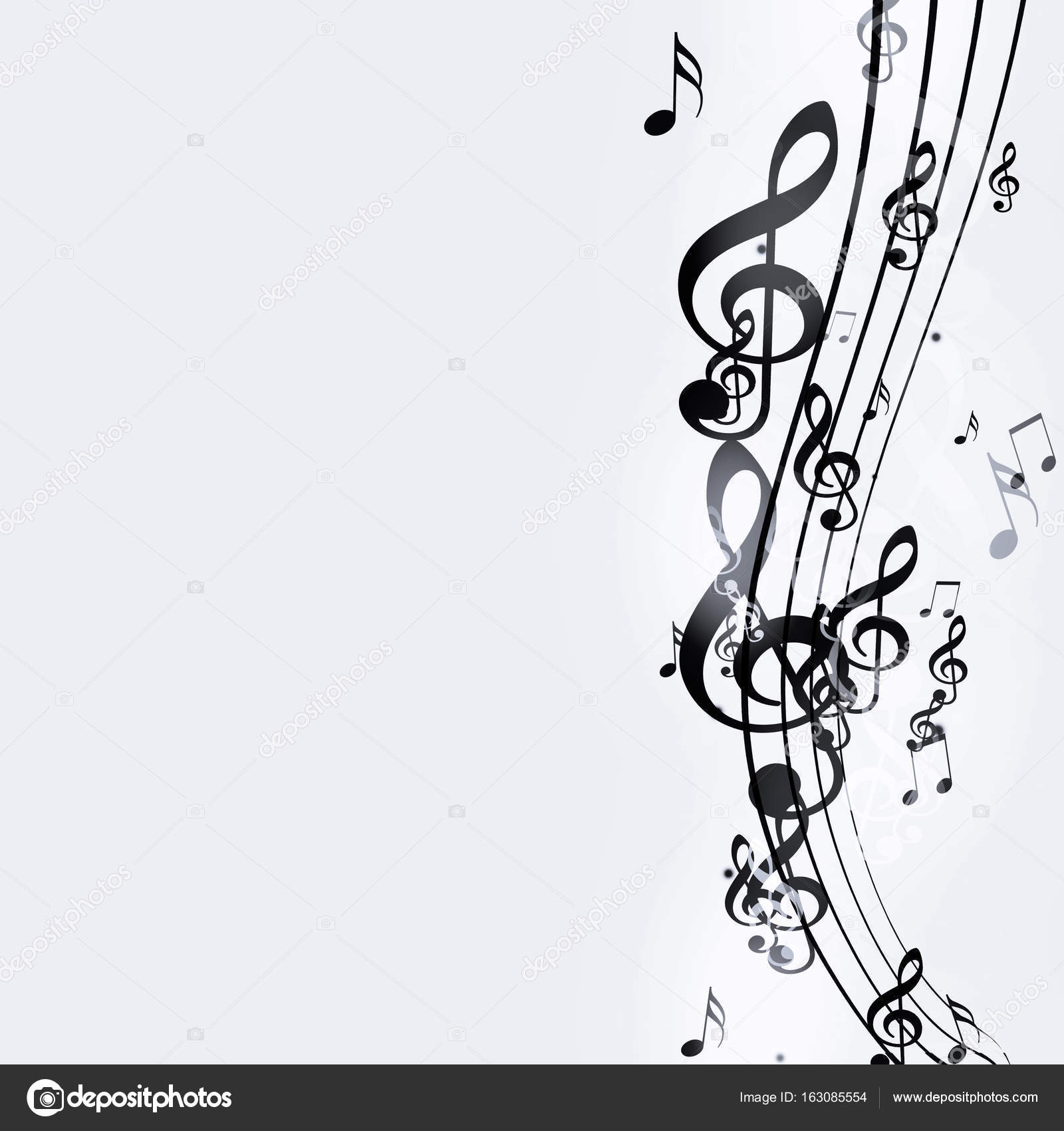 Abstract black and white background with music notes photo by alexaldo