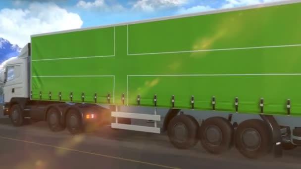 Ladonia vlajka je vyvěšena na boku velkého nákladního automobilu jedoucího po dálnici