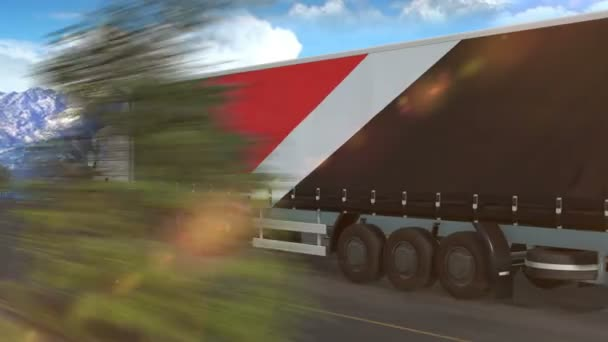 Sealand Principality flag shown on the side of a large truck driving on a highway