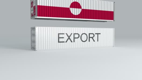 Greenland container with the flag of falls on top of a container labeled EXPORT and breaks it