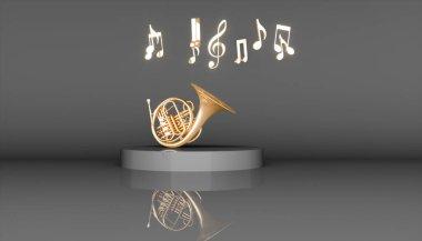 Golden French horn on a black background, 3d illustration