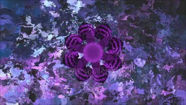 Mandala for chakra Sahasrara with moving colors on abstract  background. Loop.