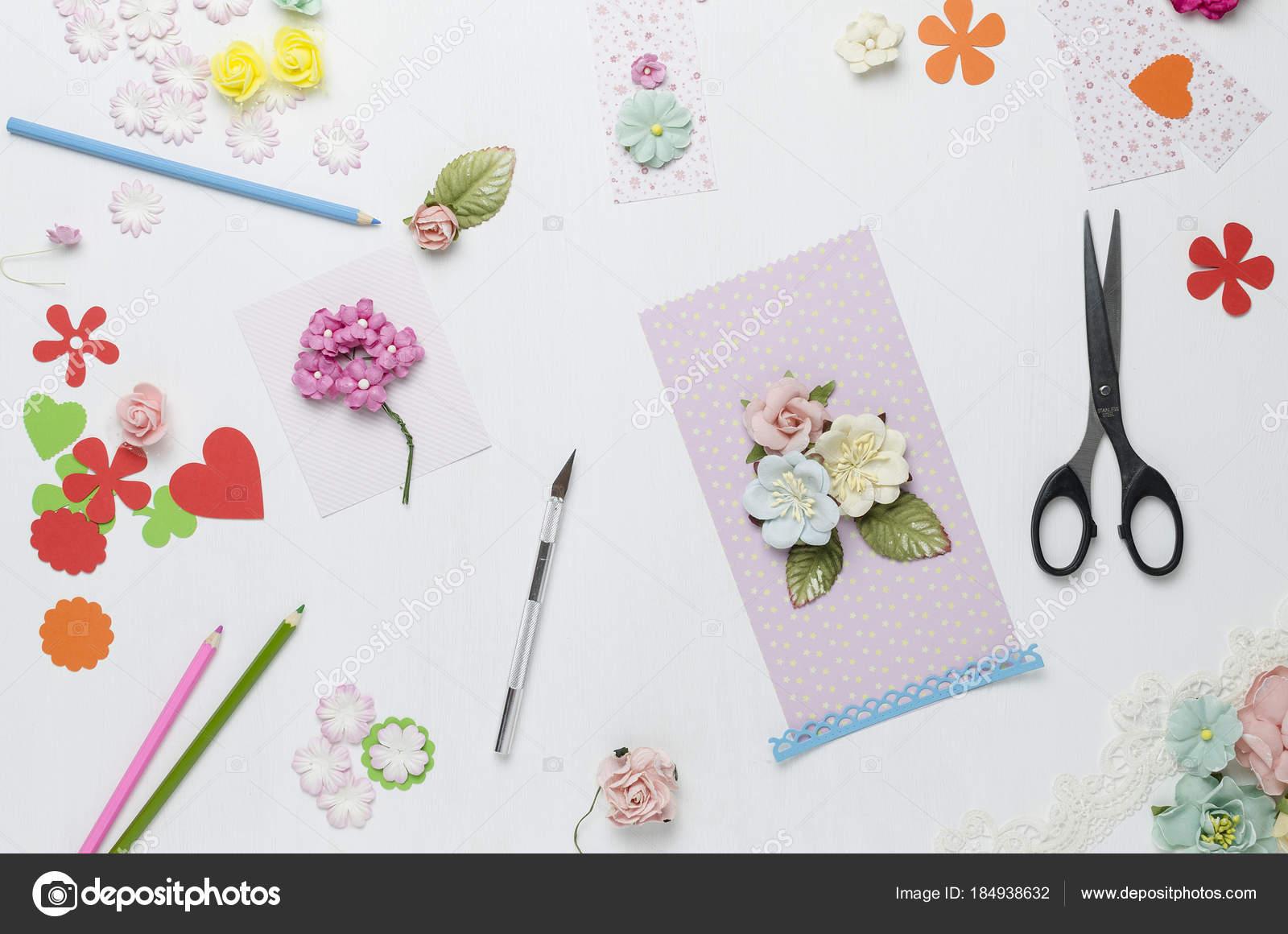 Creative Mess Paper Flowers Scissors Colored Pencils White