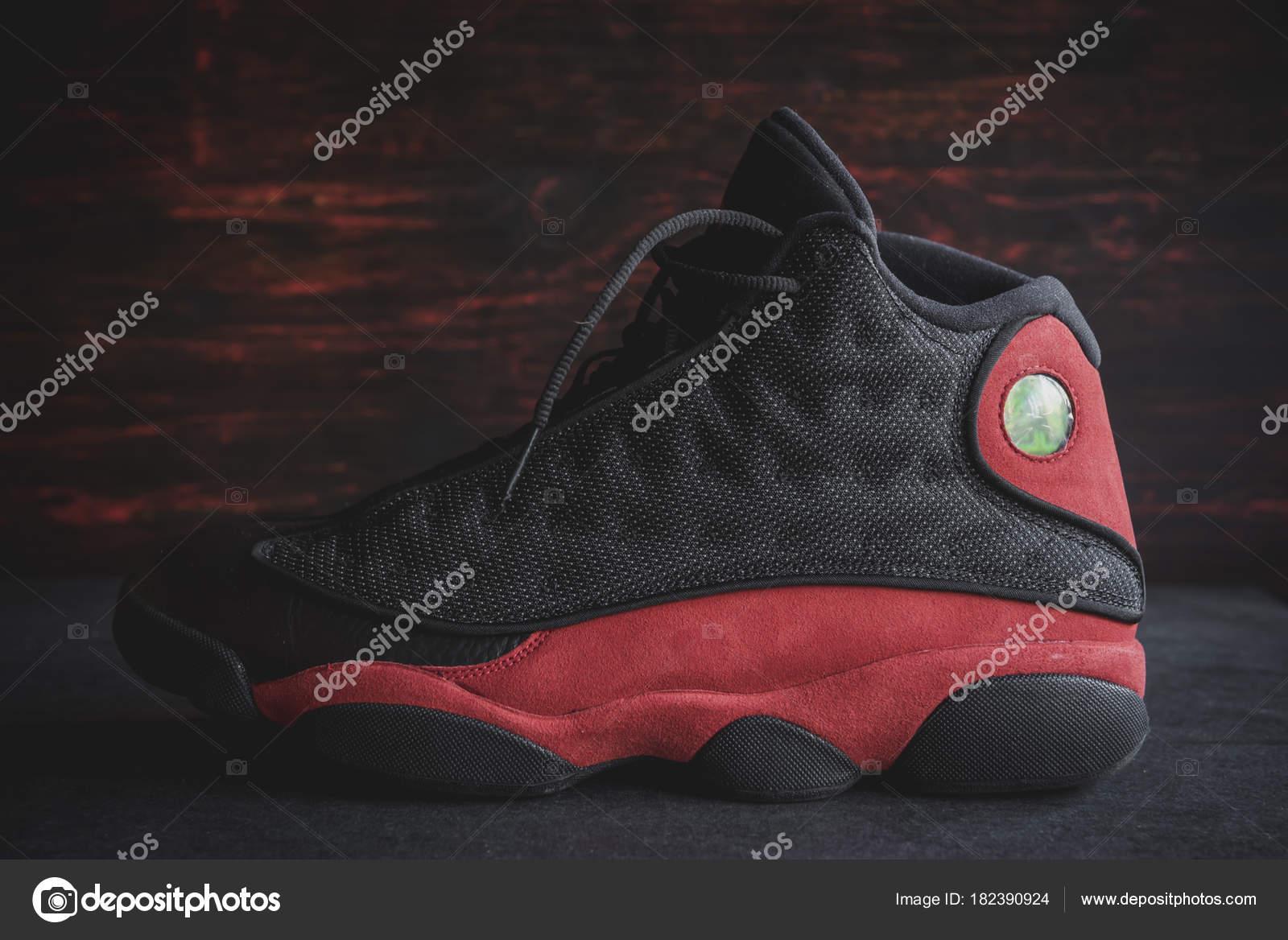 Belgrade Serbia January 2018 Rare Black Red Nike Air Jordan — Stock Photo 6ec3f863d41f