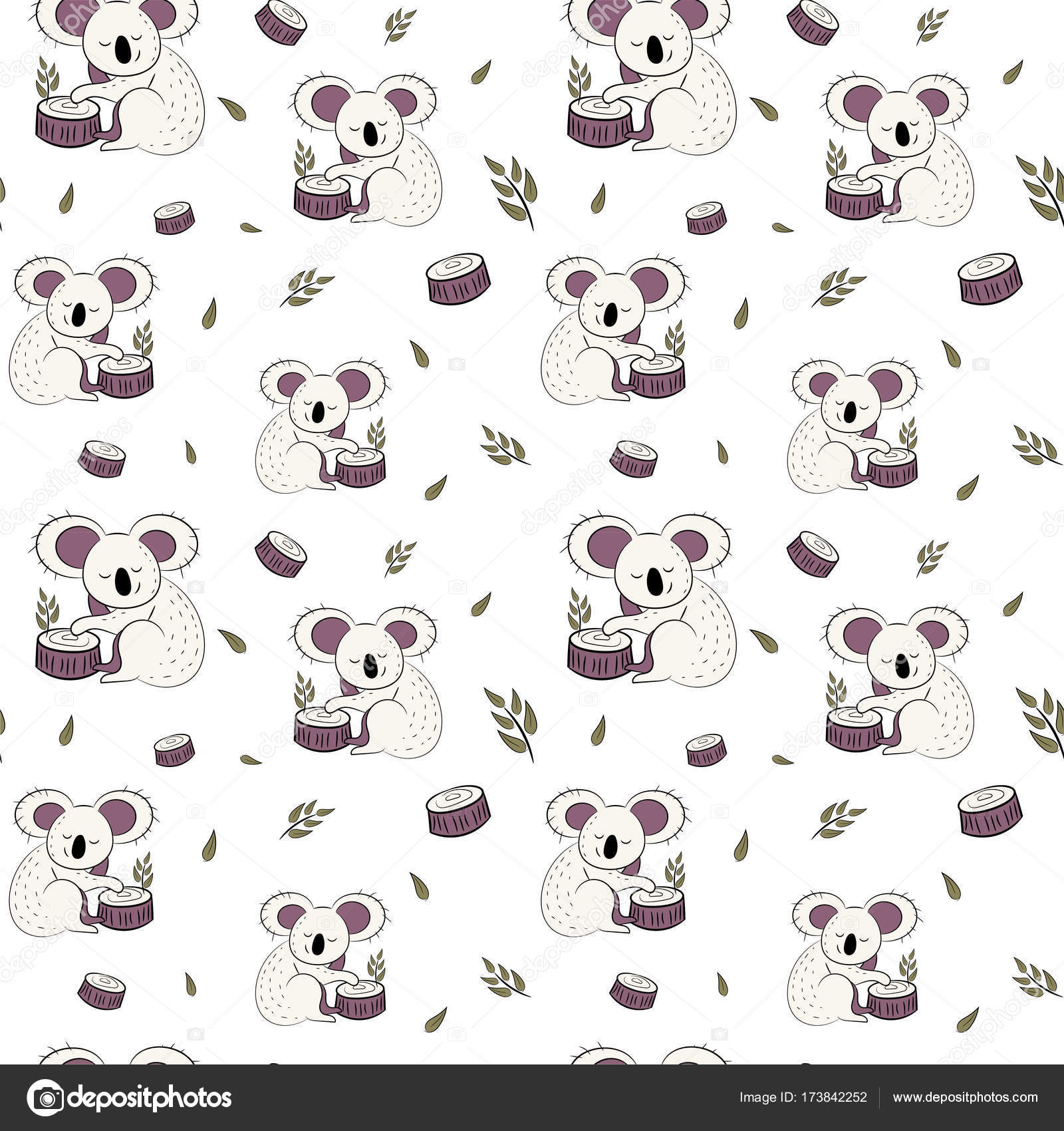 Fondo: koala pantalla   Lindo oso koala doodle de patrones sin ...