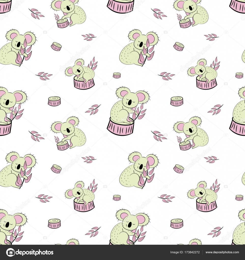Lindo oso koala doodle de patrones sin fisuras. Fondo de vector con ...