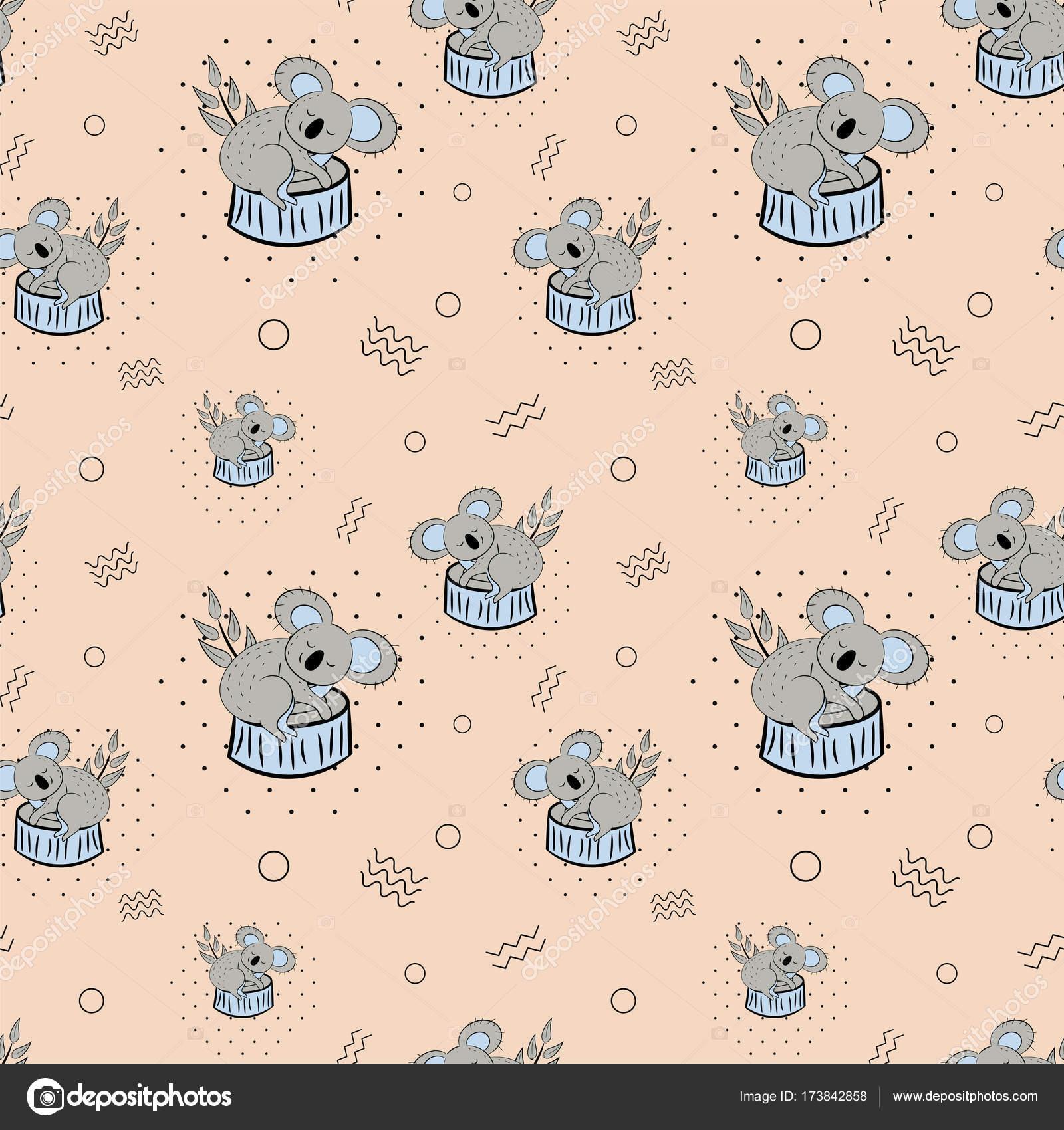 Modele Sans Couture De Doodle Koala Ours Mignon Fond De