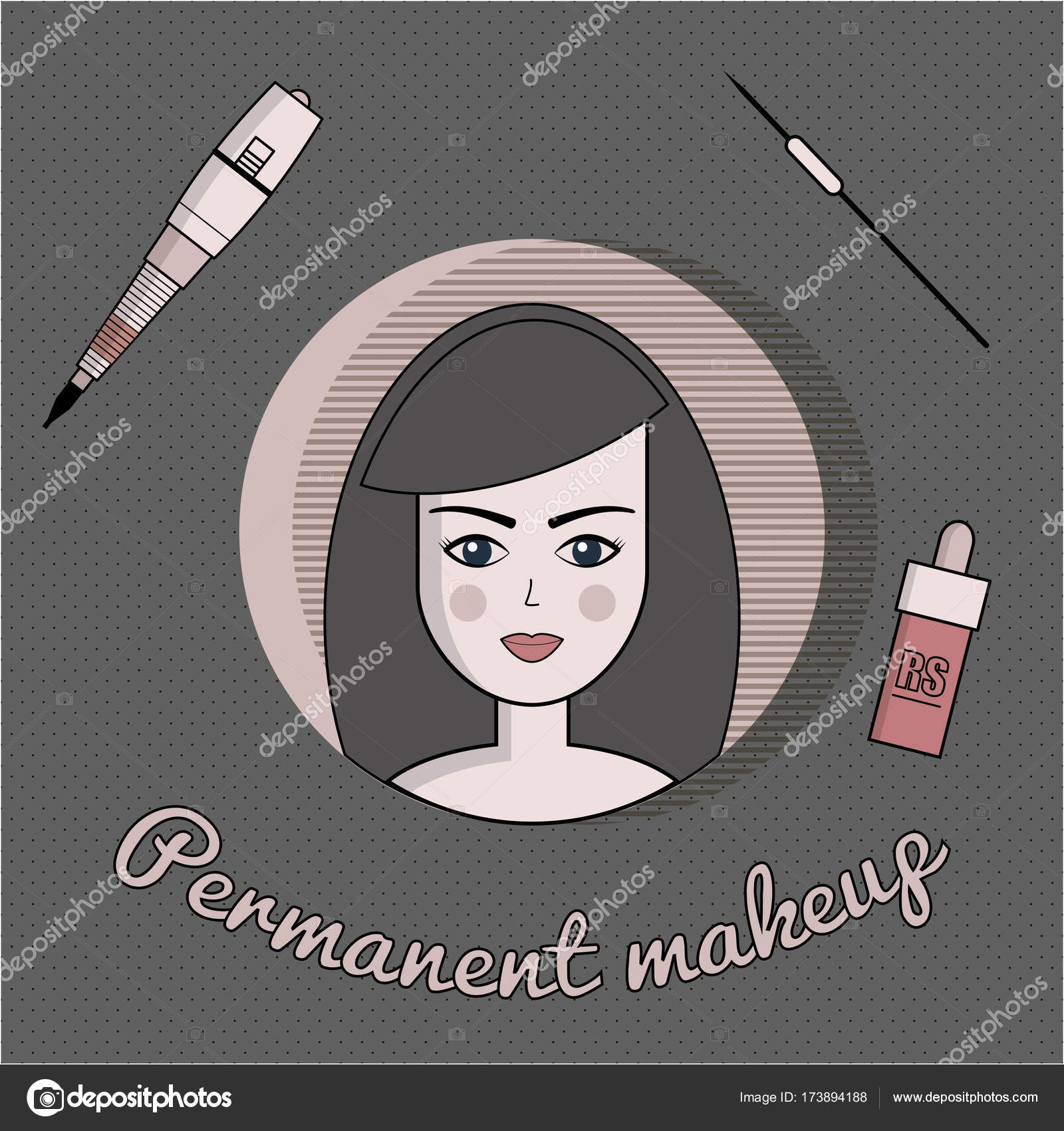 Vector Set Of Equipment For Permanent Make Up Used For Icons On The