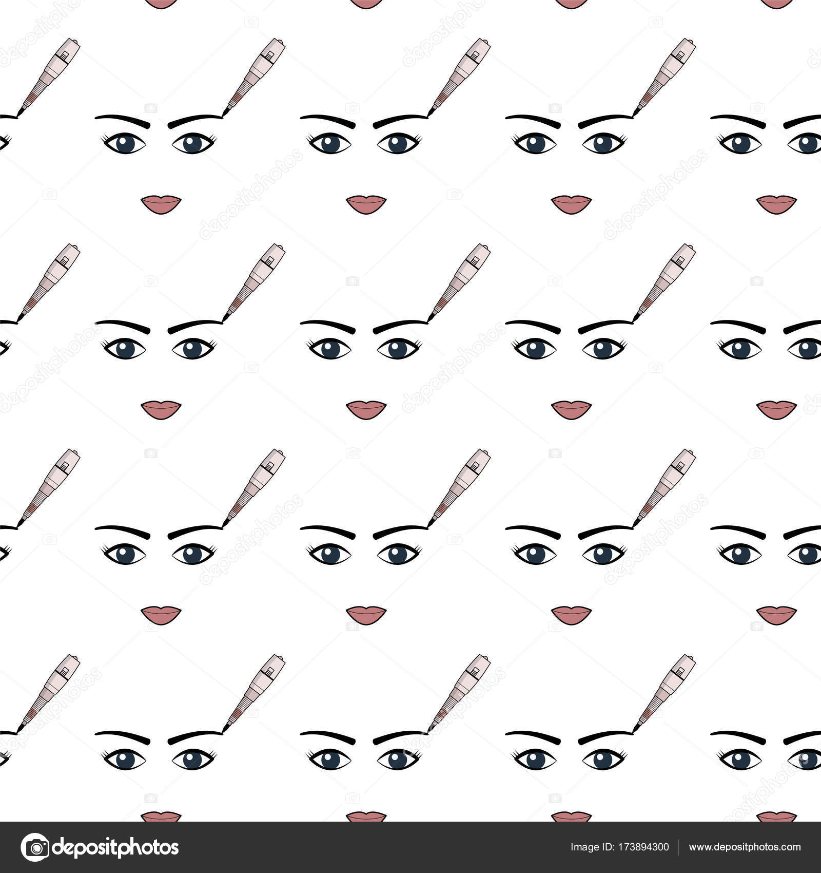 Vector Simple Pattern Of Equipment For Permanent Make Up Used For