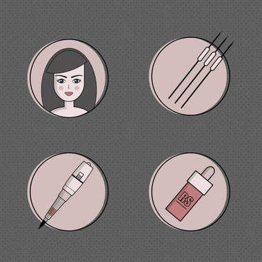 Vector set of equipment for permanent make-up. Used for icons on the site, business cards
