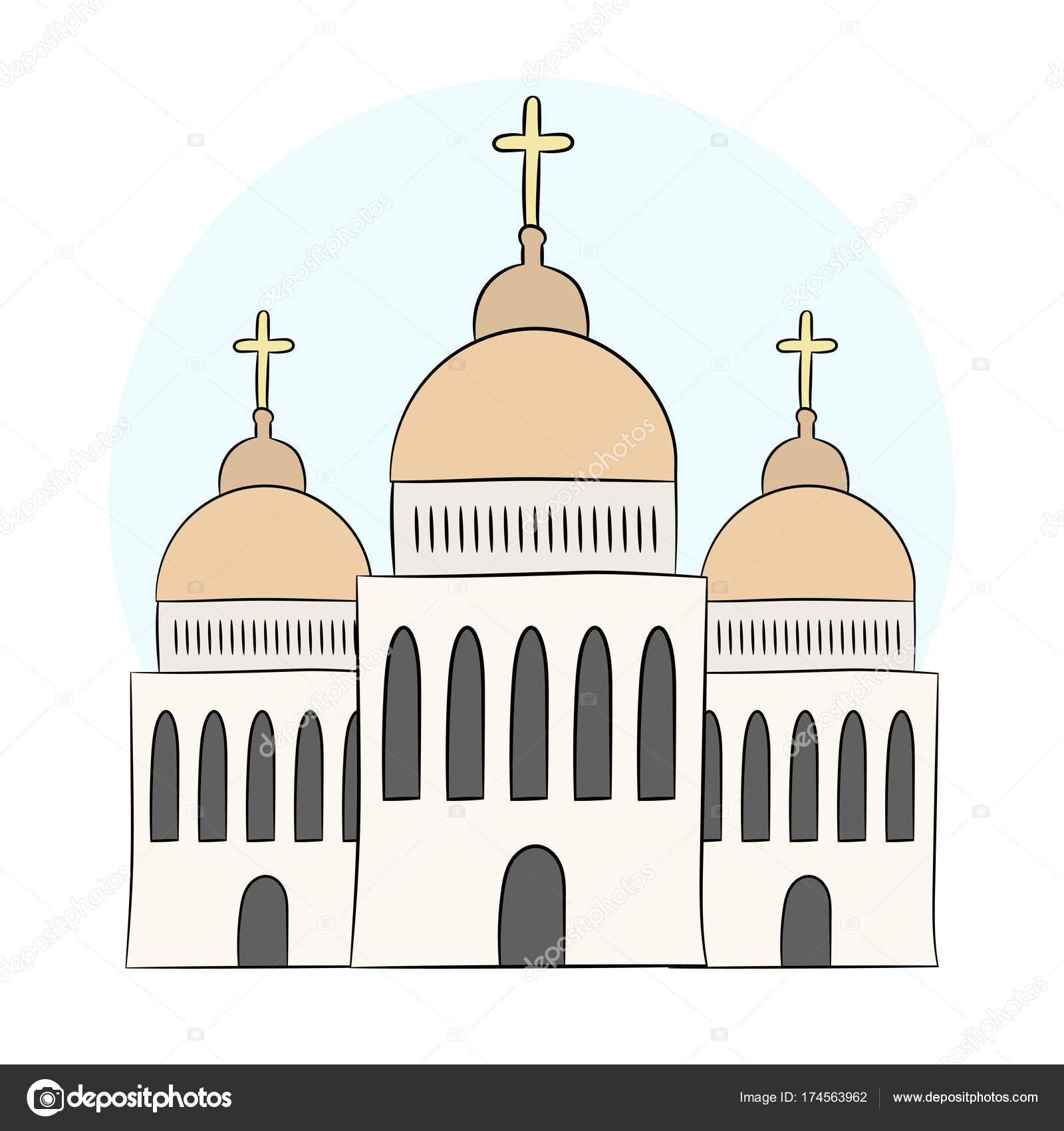 vector igreja templo capela com cúpulas e cruzes a religião é o