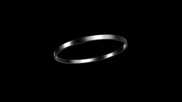 Ezüst gyűrű forgása 45 fokos szögben 4k