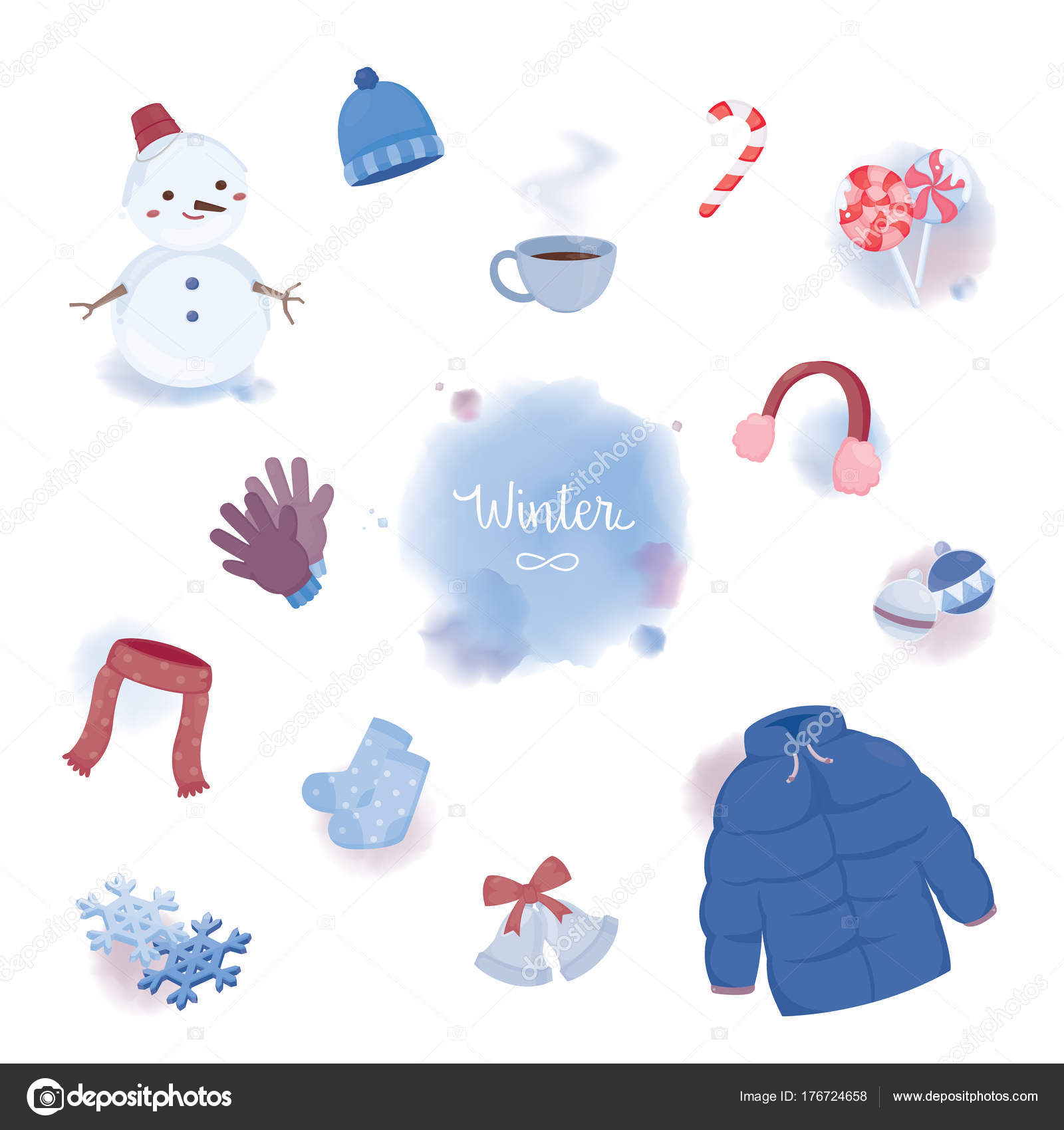 Colourful Winter Objects Water Colour Styles — Stock Vector