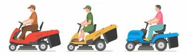 Man on tractor lawnmower