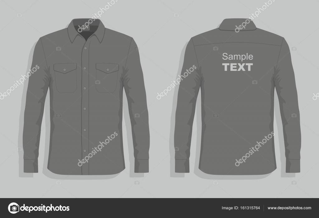 Εμπρός και πίσω θέα ένα φόρεμα πουκάμισα — Διάνυσμα με Volykievgenii ec15c2680ac