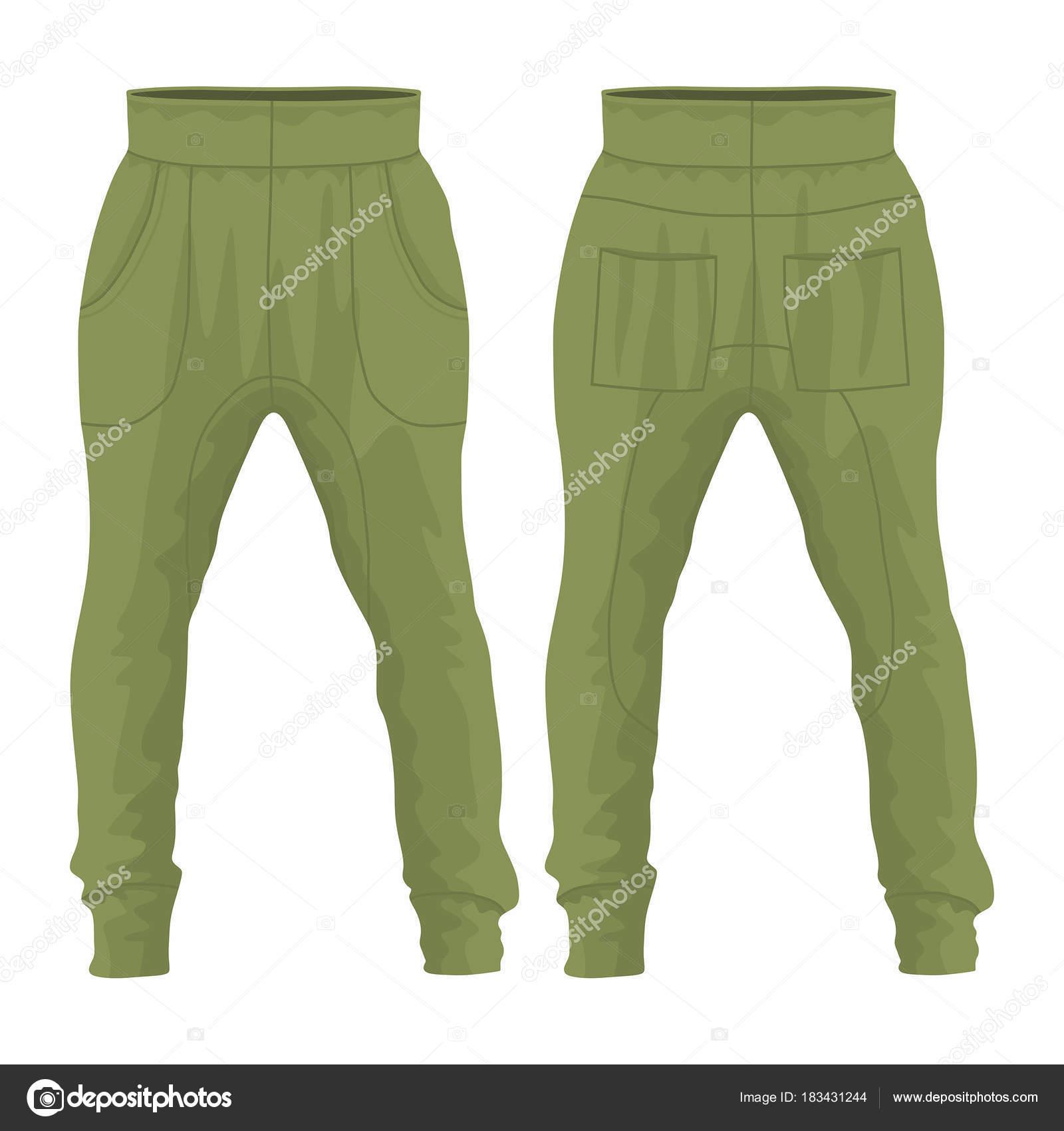 189932e85a Pantalón Militar Los Hombres Vista Anverso Reverso Sobre Fondo Blanco —  Vector de stock