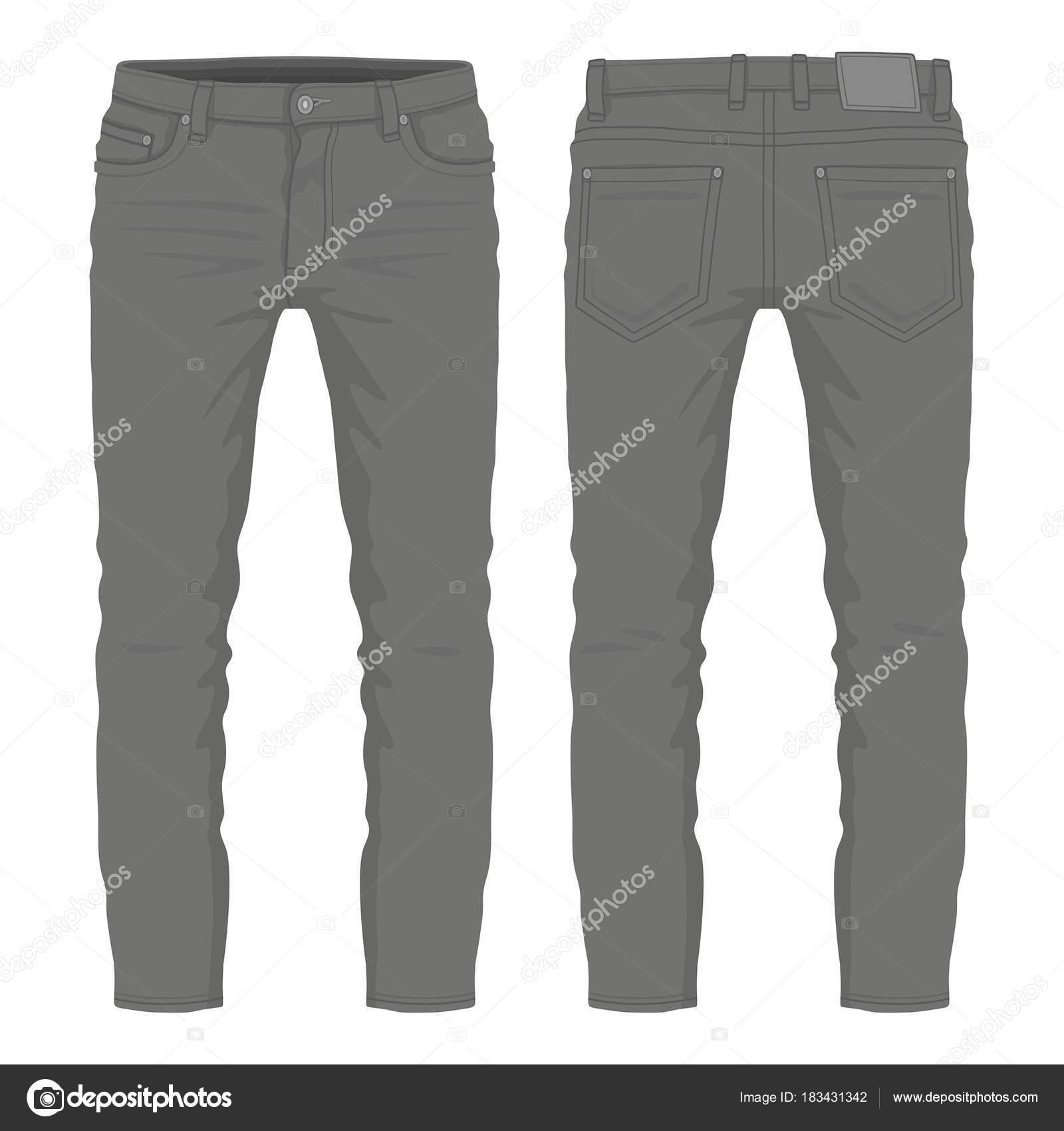 b40c1d3dc Jeans Negro Los Hombres Vista Anverso Reverso Sobre Fondo Blanco — Vector  de stock