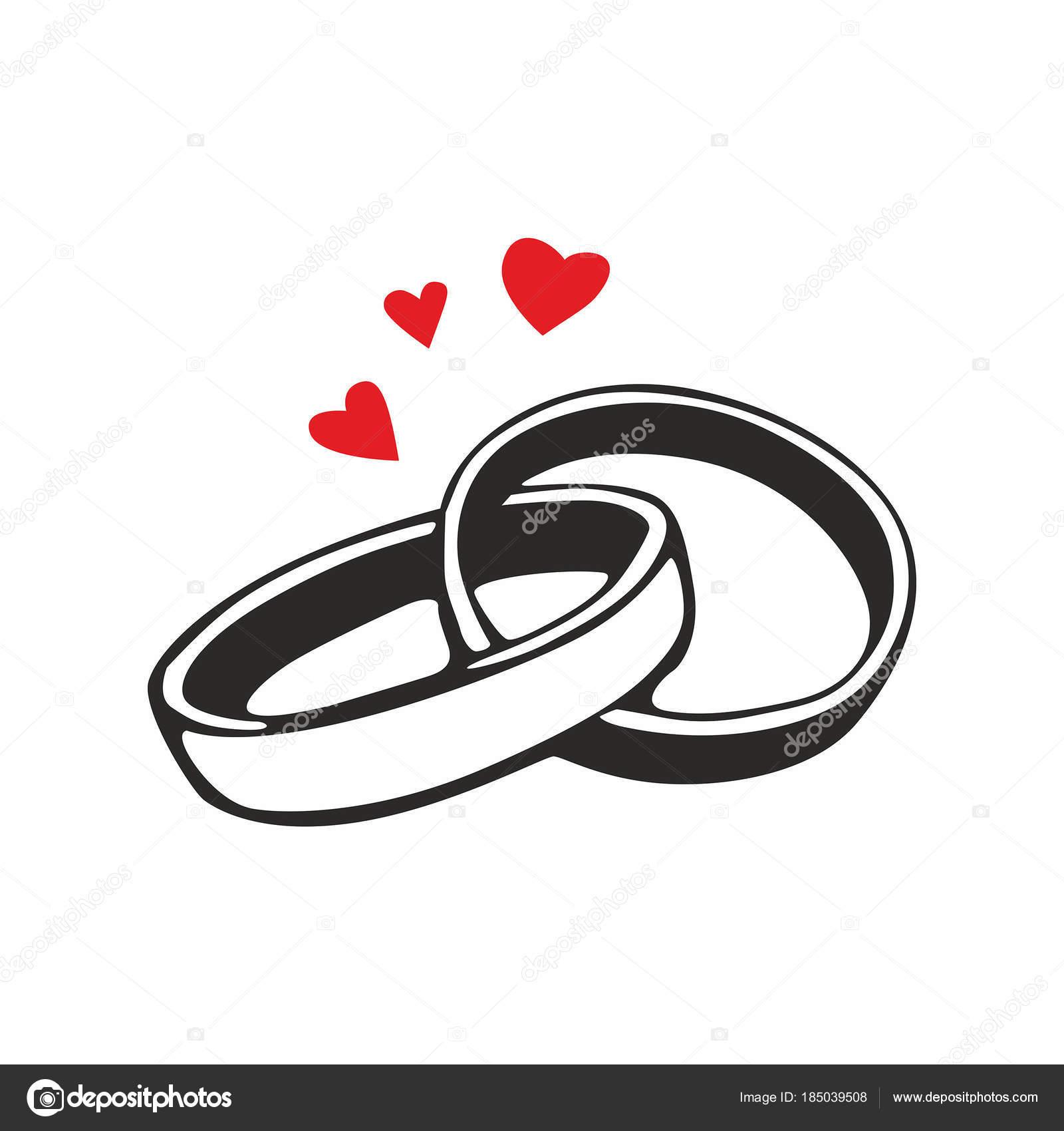 Icône Vecteur Des Anneaux Mariage Noir Sur Fond Blanc