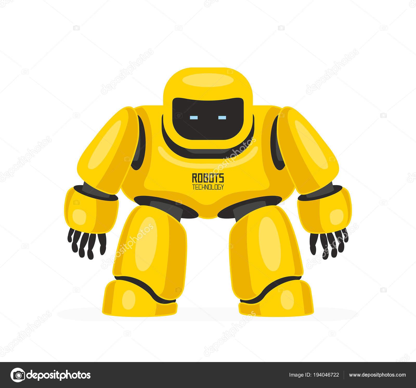Robot giallo isolato priorità bassa bianca u vettoriali stock