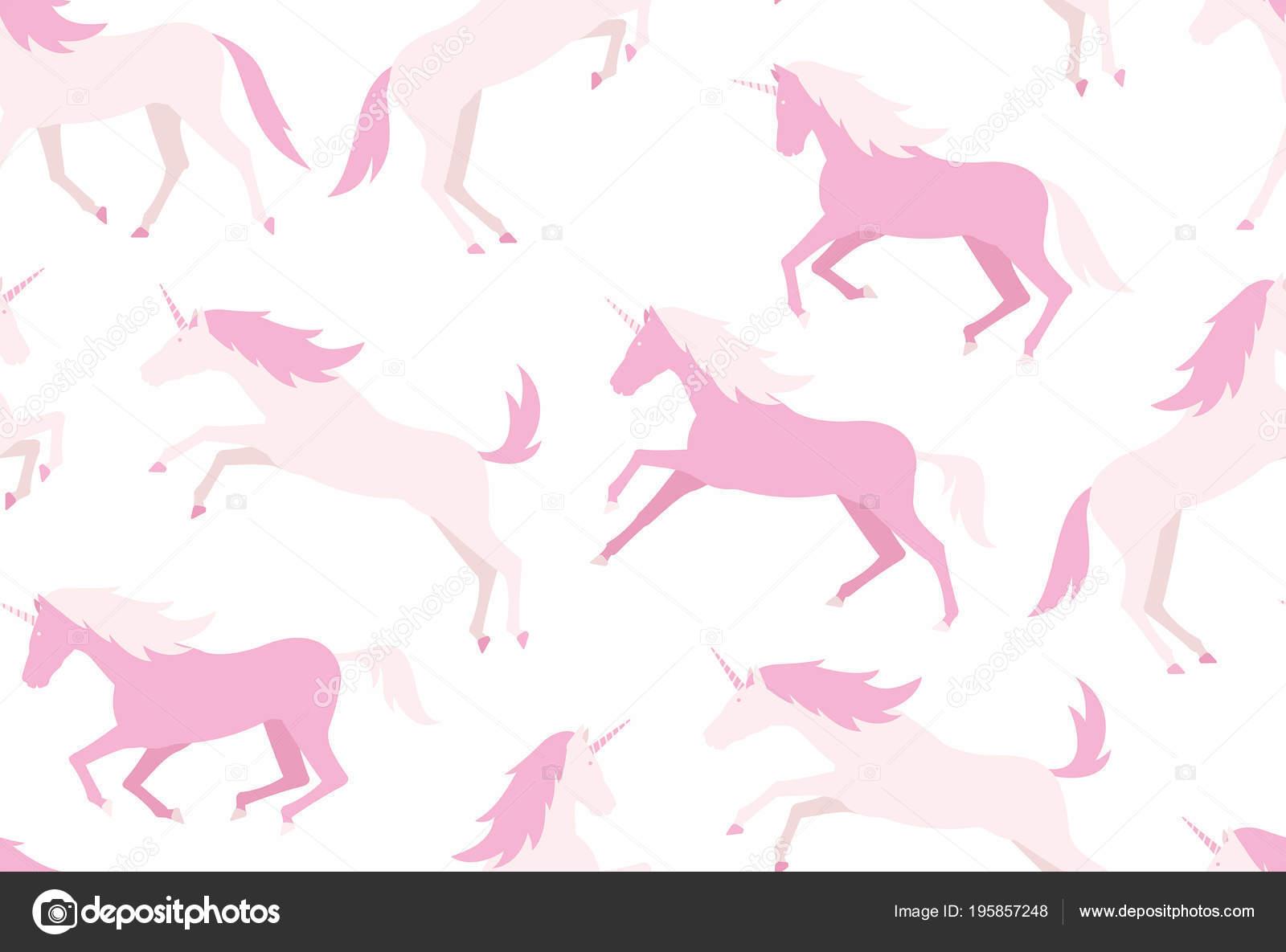 Modello Senza Cuciture Con Gli Unicorni Colorati Stile Piano Isolato