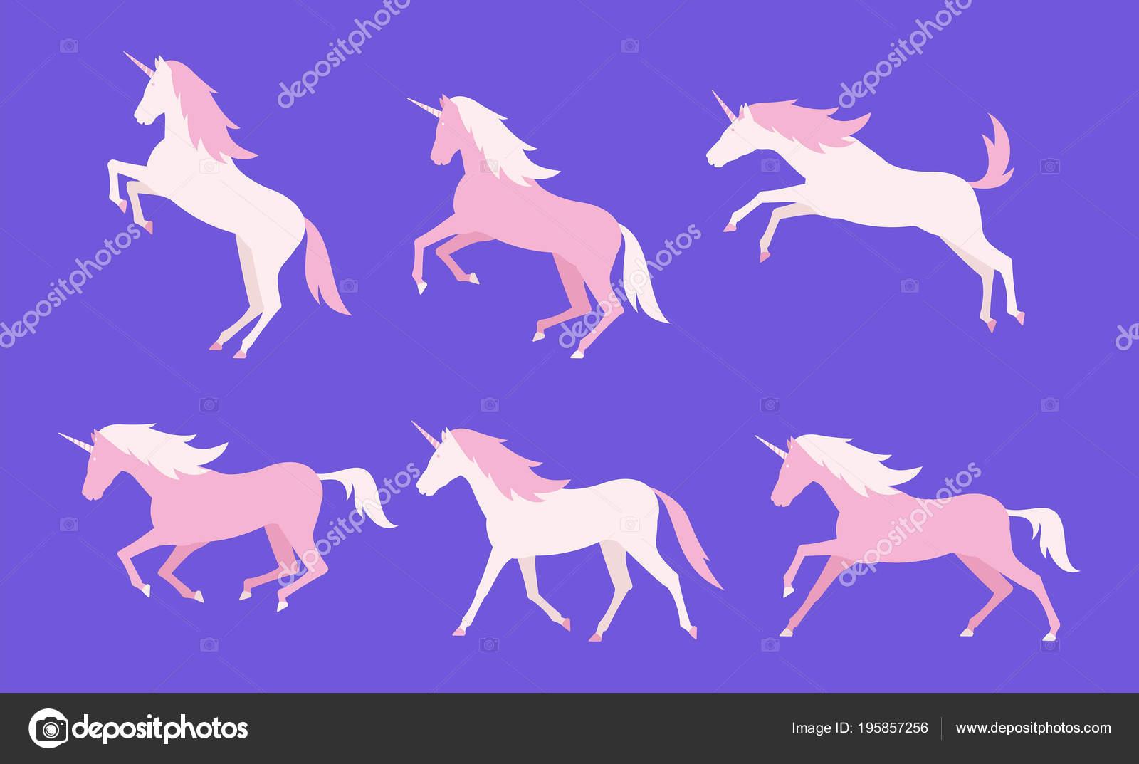 Set Unicorni Colorati Stile Piano Isolato Priorità Bassa Viola