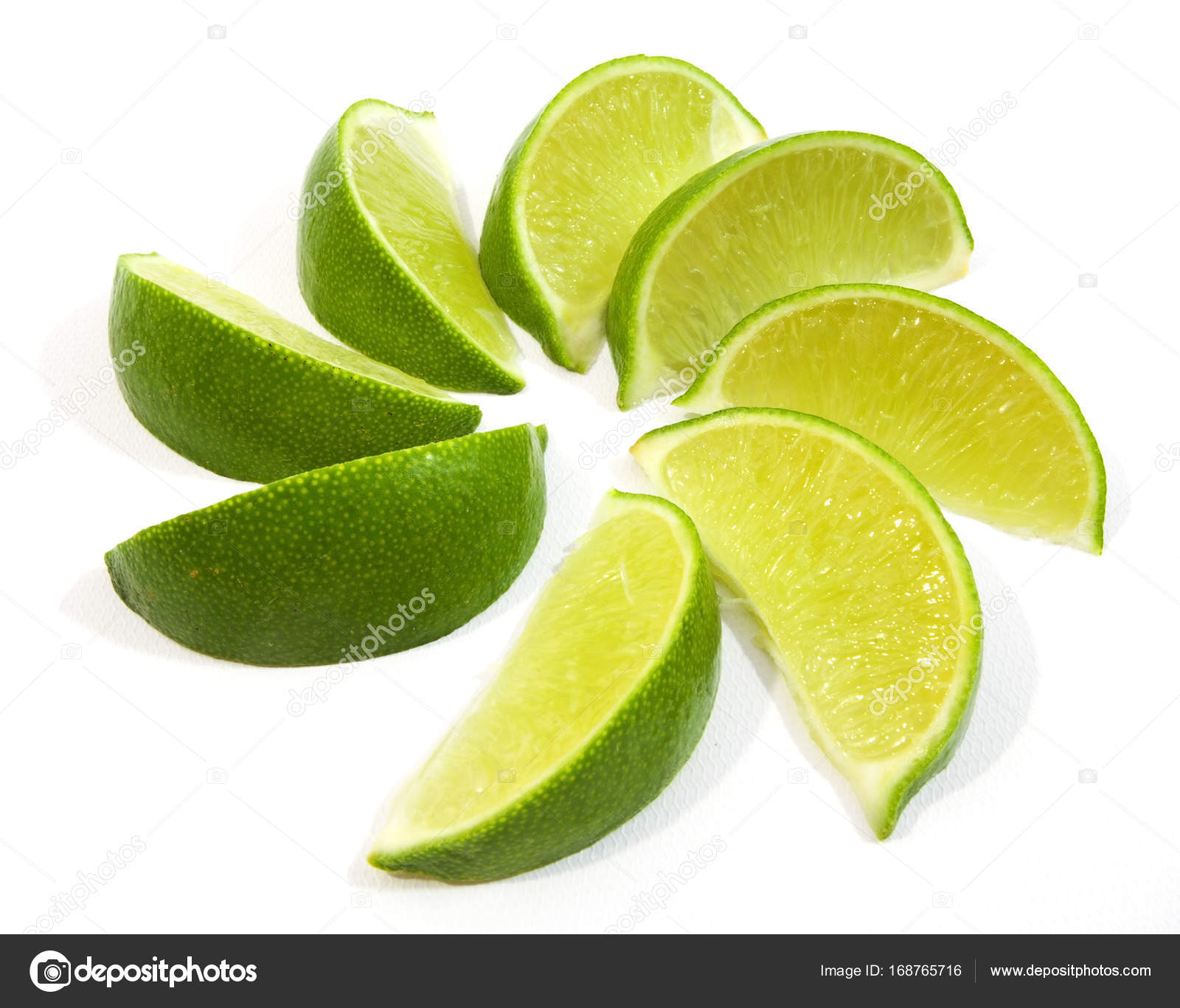 Disposizione A Spirale Di Spicchi Di Lime Foto Stock