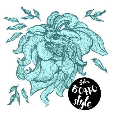Stylized flowers illustration in boho style
