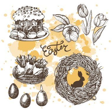 Easter graphic sketches pattern