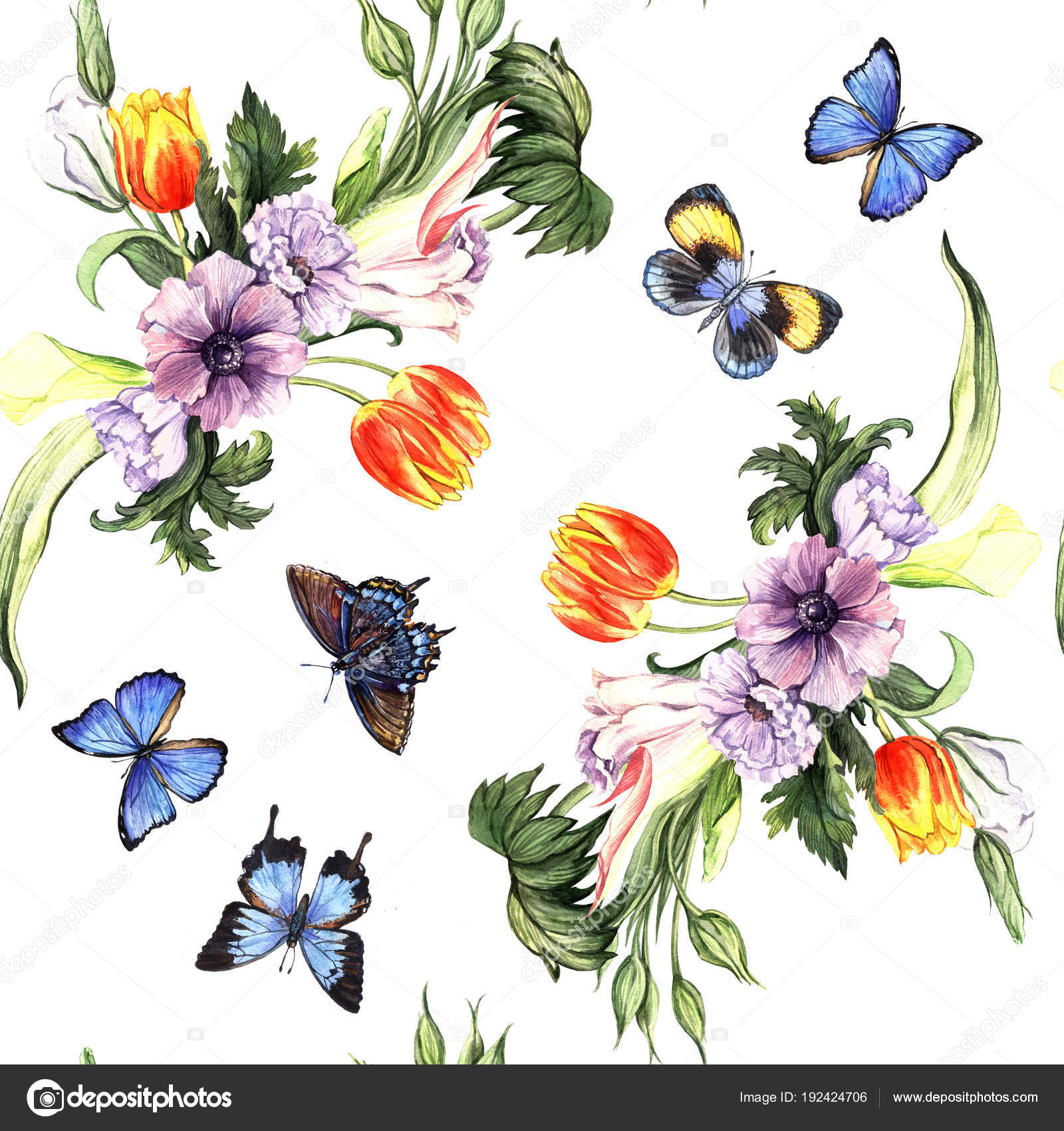 Watercolor Pattern Spring Flowers Butterflies White Stock Photo