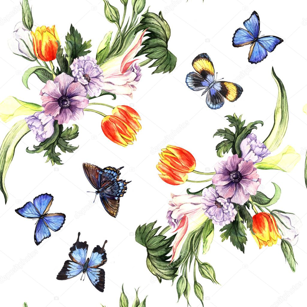Watercolor pattern with spring flowers and butterflies on white