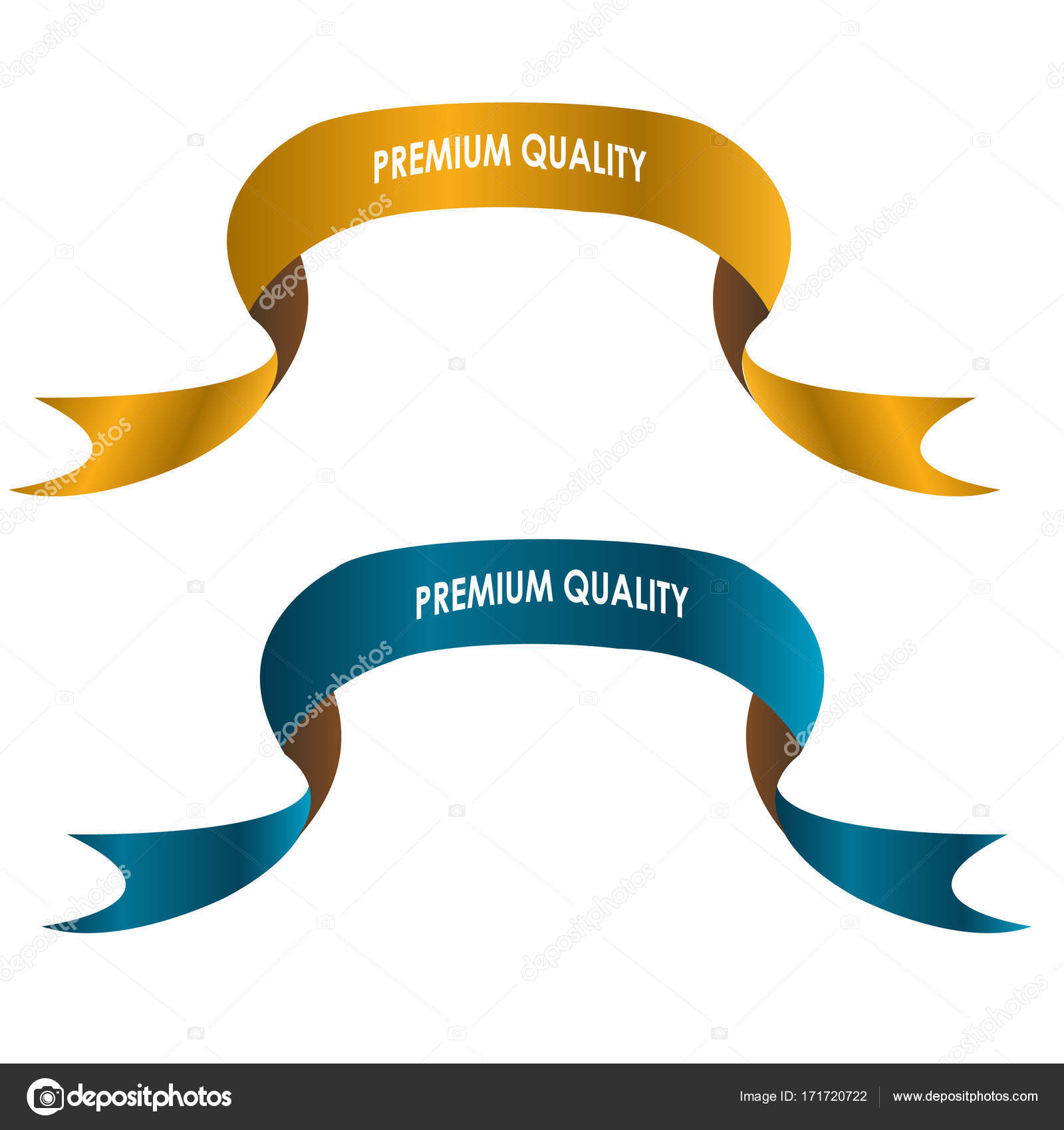gold and blue ribbon premium quality labels banner and badges design