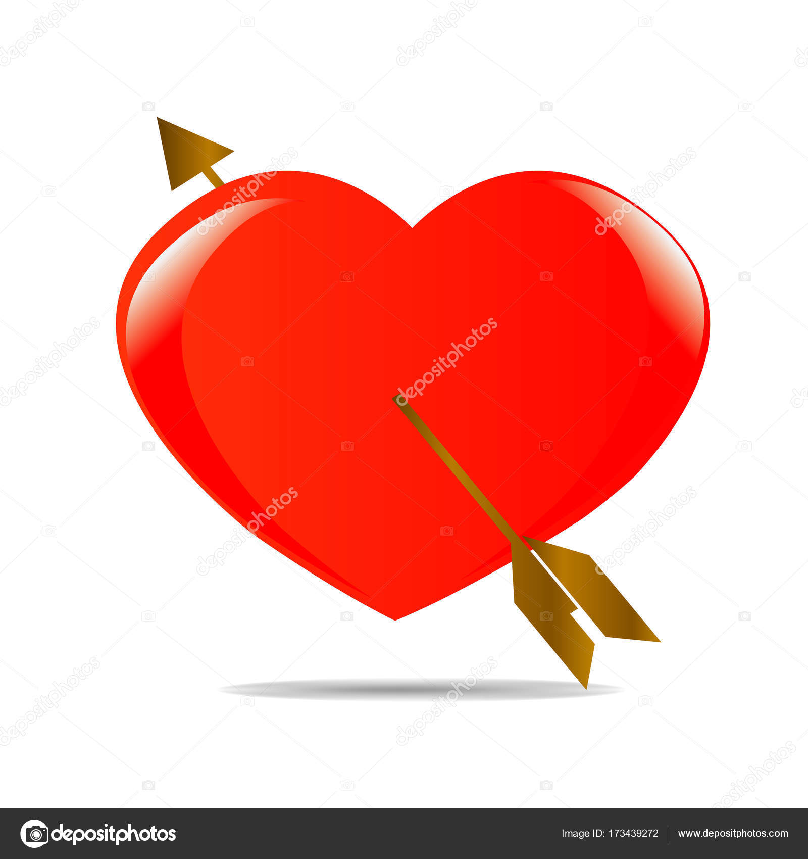 Red heart and golden arrow with shadow symbol love icon