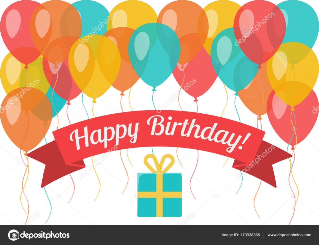 Happy Birthday Greeting Card With Flying Balloons And Gift Box On