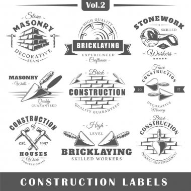 Set of vintage construction labels. Vol.2.  Posters, stamps, banners and design elements. Vector illustration stock vector