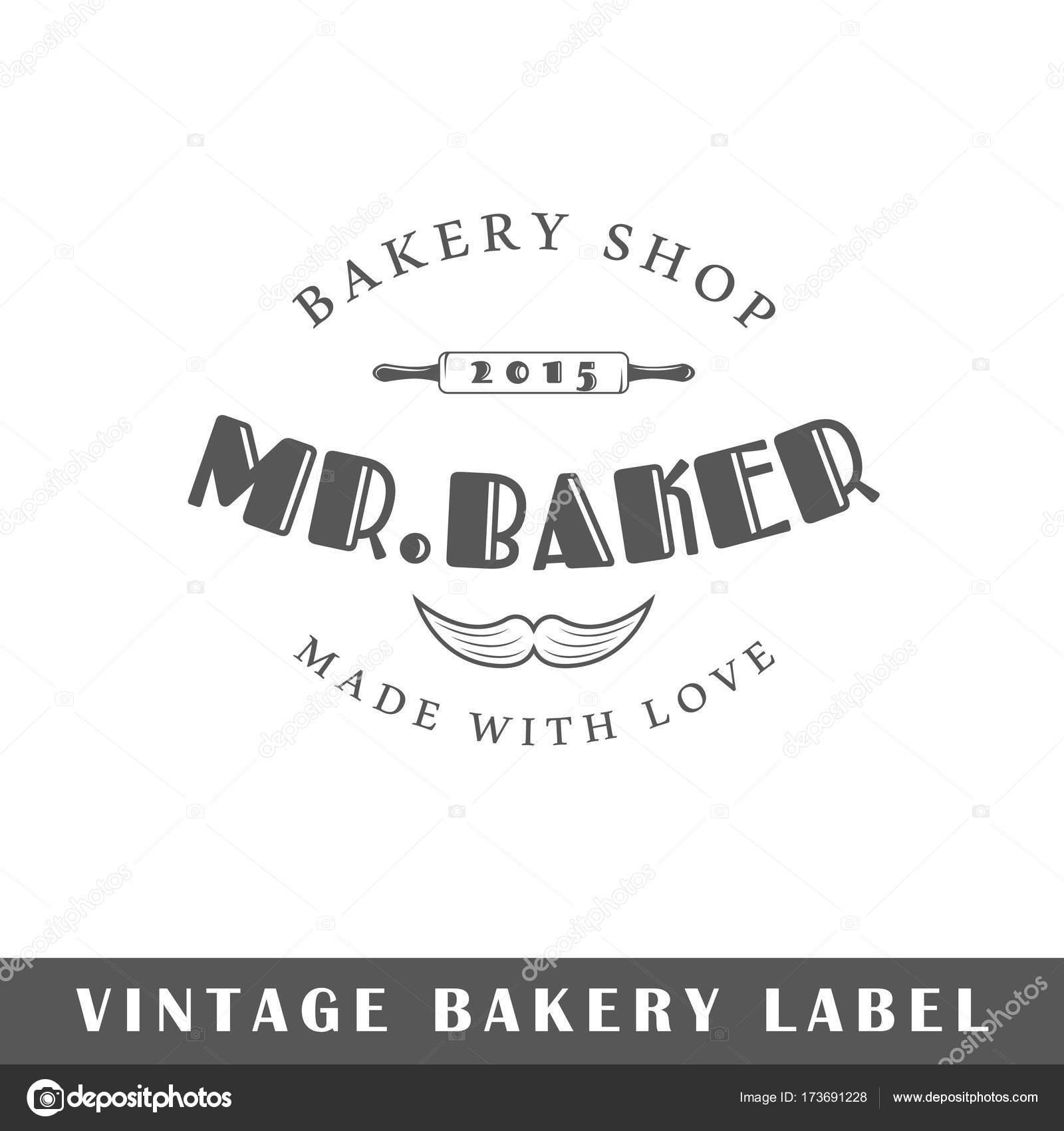 1954a860df40 Popis pekárna izolovaných na bílém pozadí. Designový prvek. Šablona pro  loga