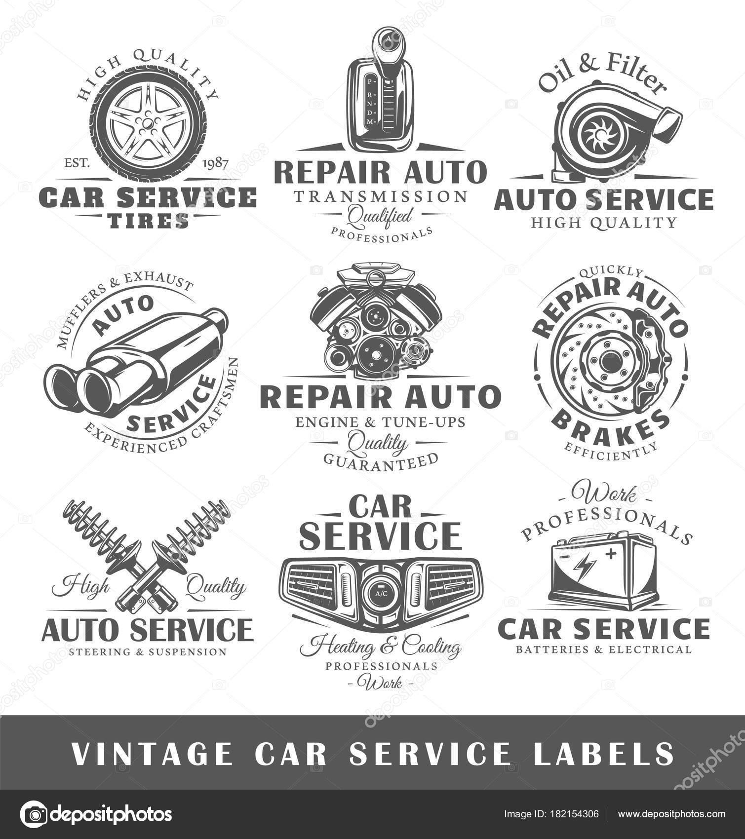 Set of vintage car service labels — Stock Vector © Shabanov_Sergey ...